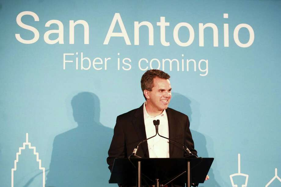 "File photo of Mark Strama, head of Google Fiber Texas, speaking at a 2015 press conference announcing plans to expanded its fiber network to San Antonio. Google Fiber was just launching a major project to improve broadband speed from an average of 11.9 megabit per second, to a ""Gigabit"" of 1,000 megabits per second, for the residents of the City. It's now expanding the service on the Far West Side. Photo: / / Julysa Sosa For the San Antonio Express-News"