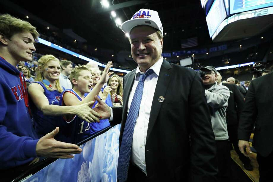 OMAHA, NE - MARCH 25:  Head coach Bill Self of the Kansas Jayhawks walks off the court after his team defeated the Duke Blue Devils in the 2018 NCAA Men's Basketball Tournament Midwest Regional at CenturyLink Center on March 25, 2018 in Omaha, Nebraska. The Kansas Jayhawks defeated the Duke Blue Devils 85-81.  (Photo by Jamie Squire/Getty Images) Photo: Jamie Squire, Staff / Getty Images / 2018 Getty Images