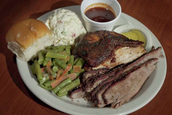 The two-meat chicken and brisket plate at B&B Smokehouse. The restaurant at 2627 Pleasanton Road will close after this weekend to move into a larger facility.
