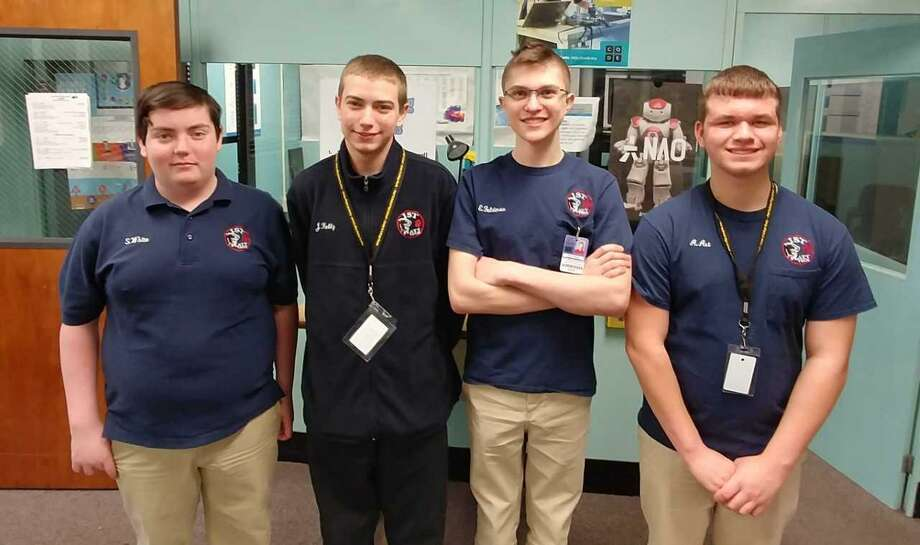 The Platt students from left to right are: Shayne White, Justin Kelly, Ethan Feldman, Austin Art. Photo: Pam McLoughlin / Contributed Photo