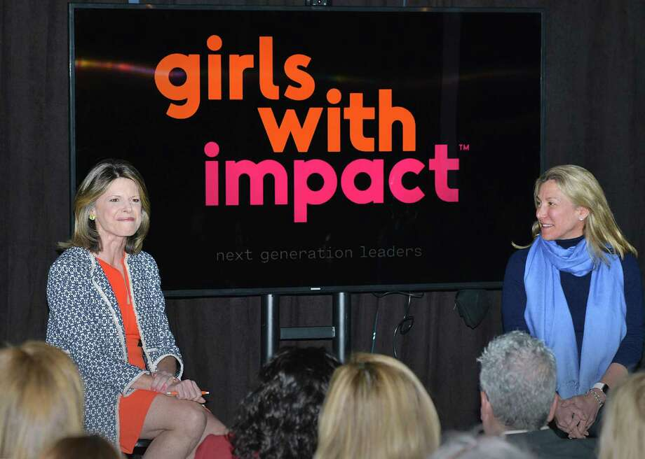Female entrepreneurs Jennifer Openshaw, left, and Tracy Chadwell, right, discuss their experiences during a panel event at The Nantucket Project in Greenwich on Tuesday. Photo: Bob Luckey Jr. / Hearst Connecticut Media / Greenwich Time