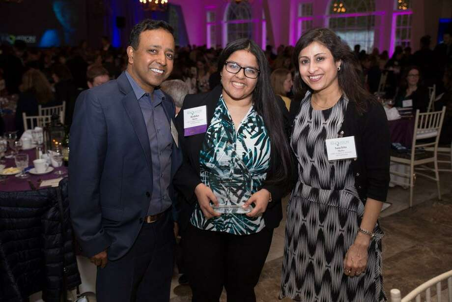 From left, Middletown residents Subhajit Maitra, daughter Rishika and wife Sanchita attended the ceremony Wednesday night at the Aqua Turf Club in Southington. The 18-year-old was chosen from among 50 nominees. Photo: Contributed Photo