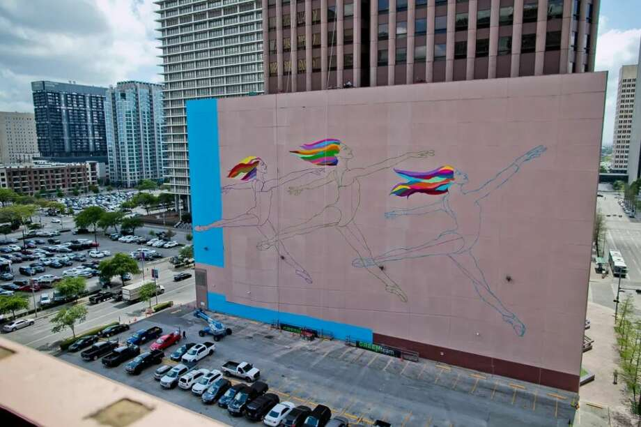 Shown here is the in-progress Sky Dance Mural commissioned to visual artist C. Finley, based in New York and Rome. Photo: DOWNTOWN DISTRICT
