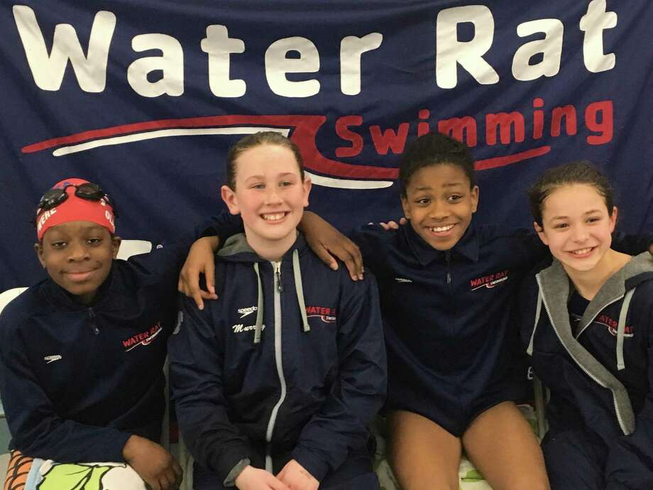 The Water Rats' state record holding 200 yard relay team includes Ayaan Olasewere, Tatum Murray, Ella Gussen, and Annam Olasewere . The won with a time of 1:53.94. Photo: Contributed Photo