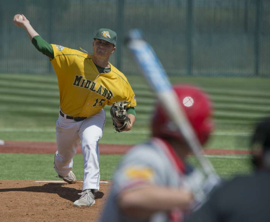 Midland College starting pitcher Logan McCrummen delivers a pitch 03/28/18 as MC takes on New Mexico Junior College at Christensen Stadium. Tim Fischer/Reporter-Telegram Photo: Tim Fischer/Midland Reporter-Telegram