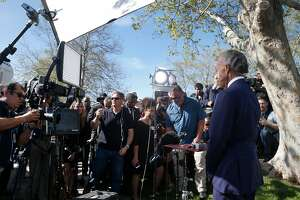 Rev. Al Sharpton appears on a national news broadcast before delivering the eulogy at the funeral service for Stephon Clark in Sacramento, Calif. on Thursday, March 29, 2018. Clark was shot and killed in the backyard of his grandmother's home by police officers who mistook a cellphone he was holding for a gun.