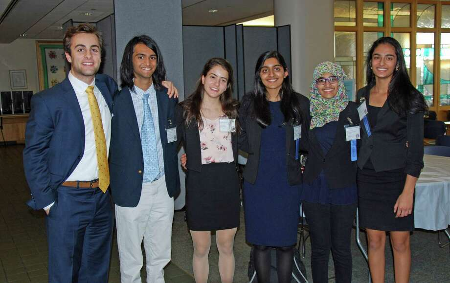 Greenwich High Students, from left: Romano Orlando, Amit Ramachandran, Emily Philippides, Shobhita Sundaram, Hiba Hussain and Raina Jain, were among those competing in the 2018 Connecticut Junior Science and Humanities Symposium Saturday at the University of Connecticut's medical school. Photo: Contributed Photo