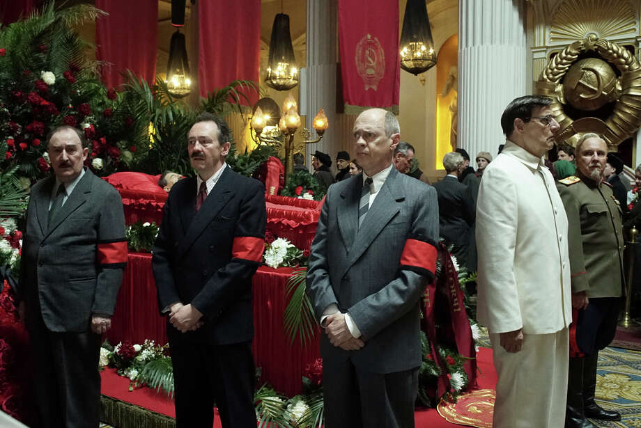 "This image released by IFC Films shows, from left, Dermot Crowley, Paul Whitehouse, Steve Buscemi, Jeffrey Tambor and Paul Chahidi in a scene from ""The Death of Stalin."" (Nicola Dove/IFC Films via AP) Photo: Nicola Dove / Nicola Dove"