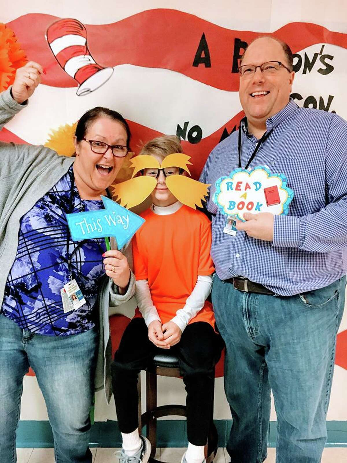 Bad Axe Middle School Students celebrated March is Reading Month Thursday with Dr. Seuss on The Loose Day.