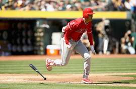 OAKLAND, CA - MARCH 29:  Shohei Ohtani #17 of the Los Angeles Angels runs to first base for a single during his first Major League at-bat in the second inning of their game against the Oakland Athletics on Opening Day at Oakland Alameda Coliseum on March 29, 2018 in Oakland, California.  (Photo by Ezra Shaw/Getty Images)