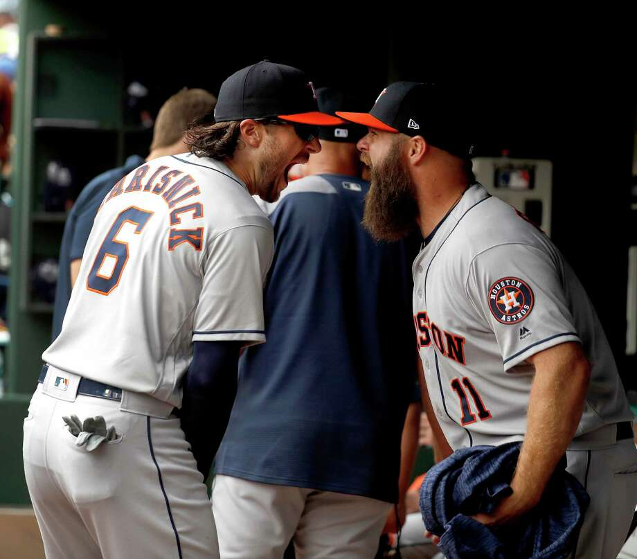 It was a happy return to active duty for Jake Marisnick in Thursday's season opener after missing last year's postseason with an injury. Photo: Karen Warren, Houston Chronicle / © 2018 Houston Chronicle