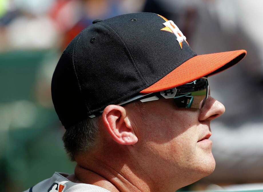 Astros manager A.J. Hinch's gambit paid off Thursday with his four-man outfield used in the season-opening win over the Rangers. Photo: Karen Warren, Houston Chronicle / © 2018 Houston Chronicle
