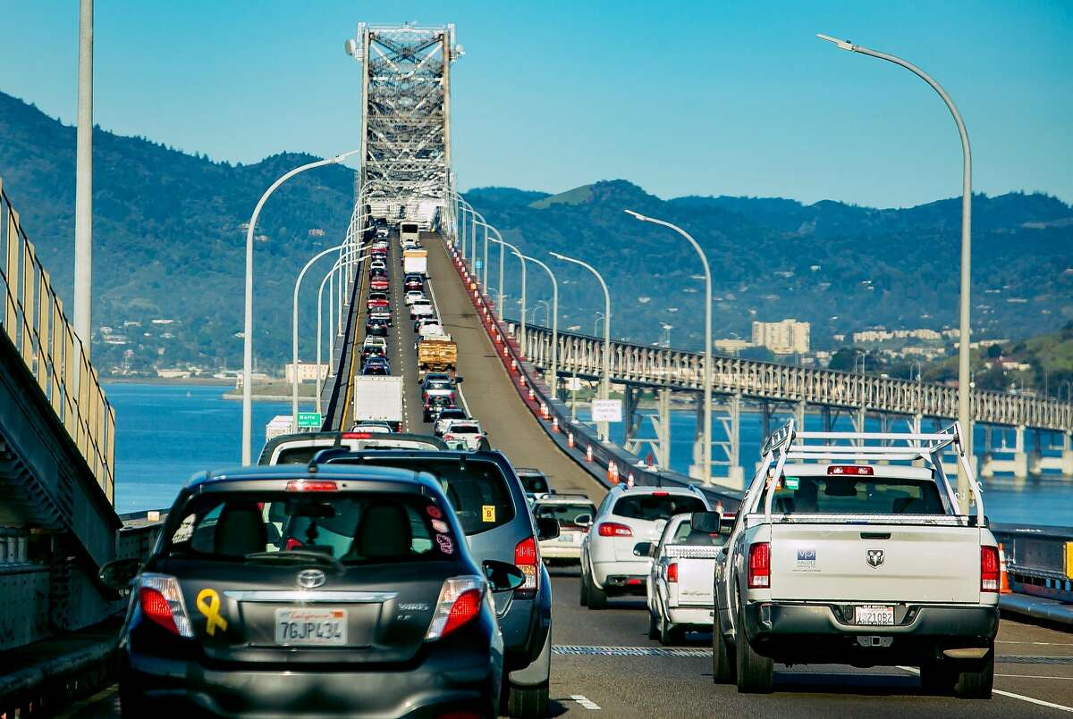 Vehicles on the Richmond-San Rafael Bridge during rush hour in San Rafael, Calif. are seen on March 29th, 2018. Scroll through this gallery for 1970s EPA photos of California.