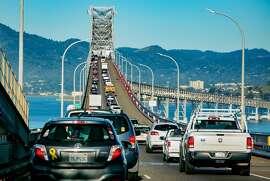 Vehicles on the Richmond-San Rafael Bridge during rush hour in San Rafael, Calif. are seen on March 29th, 2018.