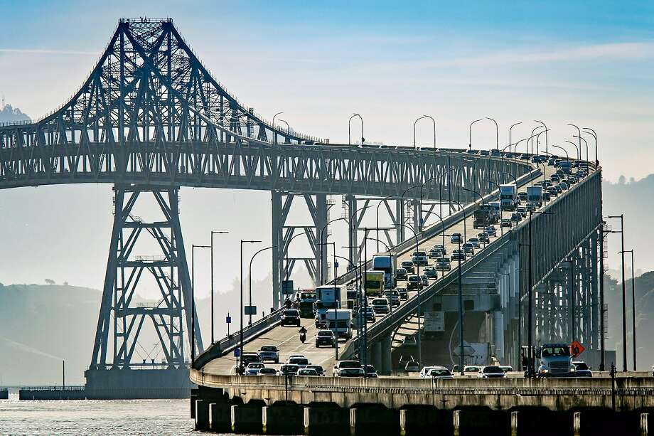 Vehicles on the Richmond-San Rafael Bridge during rush hour in San Rafael. By Sunday, the EPA is expected to declare that the current tailpipe standard are overly strict for model years 2022 to 2025.  Photo: John Storey / Special To The Chronicle