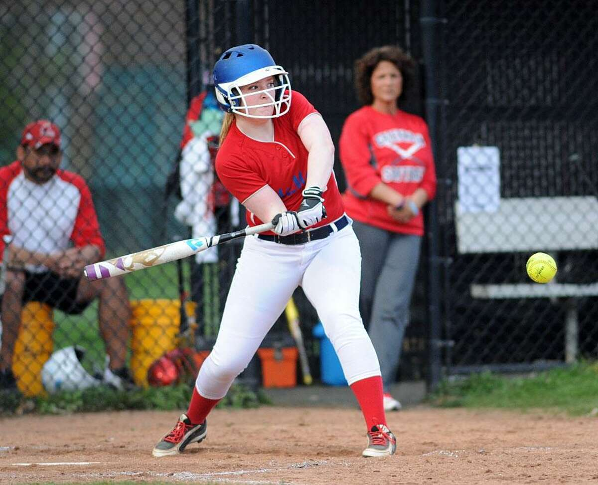 McMahon's Riley Finn hits during a game against Greenwich on April 13.