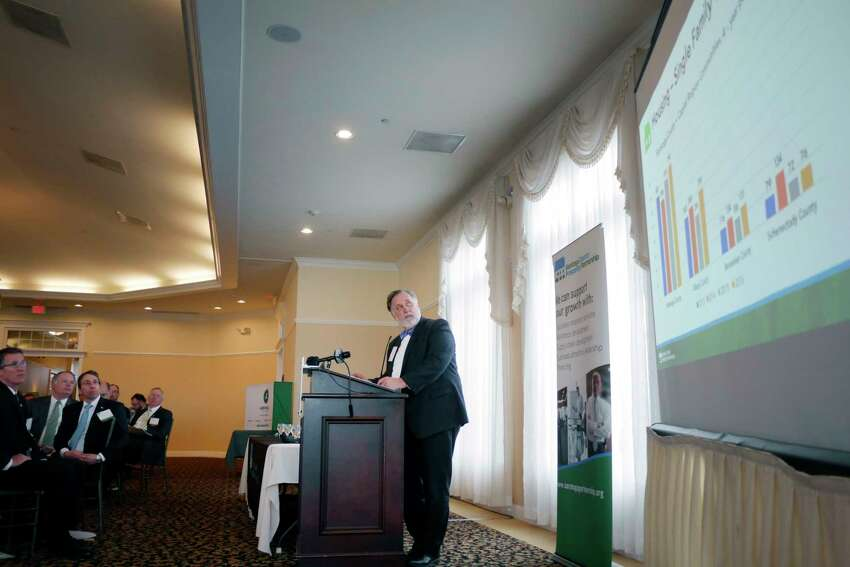 Marty Vanags, president of the Saratoga County Prosperity Partnership, addresses those gathered at an event put on by the partnership to release data from their Saratoga County Economic Index report on Thursday, March 29, 2018, at The Vista Restaurant at Van Patten Golf Club in Clifton Park, N.Y. (Paul Buckowski/Times Union)
