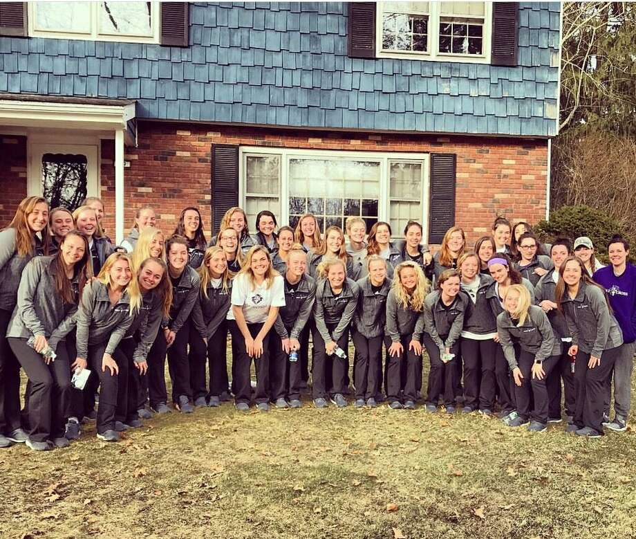 Julia Maloney of Loudonville, senior captain of The College of Holy Cross Women?s lacrosse team, brought the whole team home for dinner on their way to play against Colgate University. The hosts were Steve and Sonja Maloney. (Submitted photo)