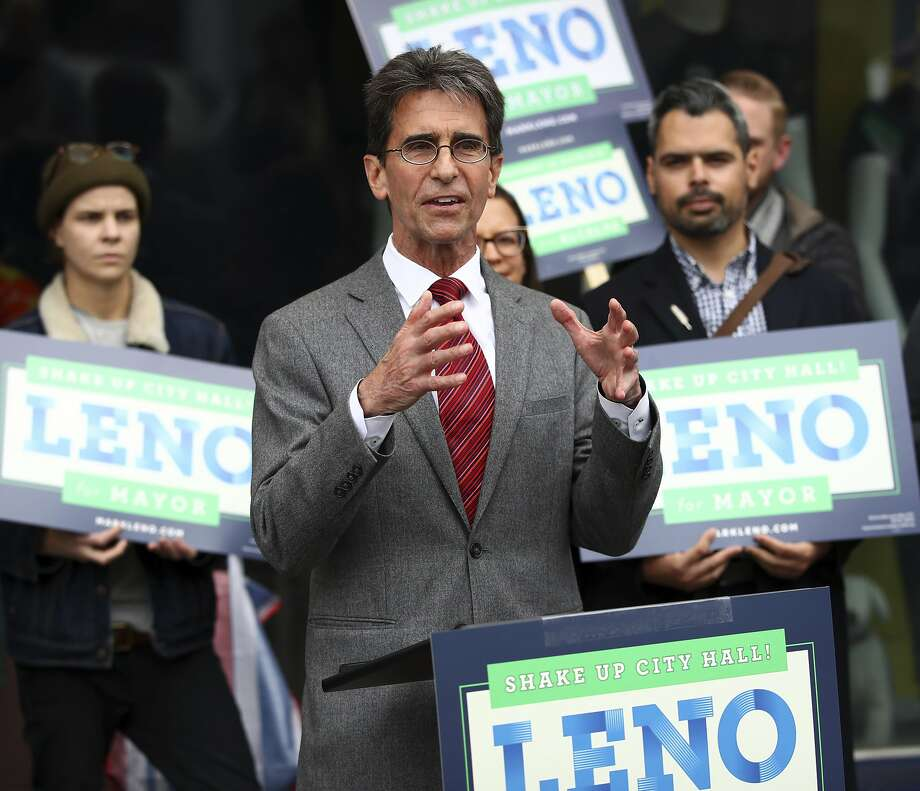In this photo taken on Wednesday, March 21, 2018, San Francisco Mayoral candidate Mark Leno gestures while speaking to supporters in San Francisco. (AP Photo/Ben Margot) Photo: Ben Margot / Associated Press