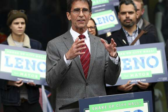In this photo taken on Wednesday, March 21, 2018, San Francisco Mayoral candidate Mark Leno gestures while speaking to supporters in San Francisco. (AP Photo/Ben Margot)