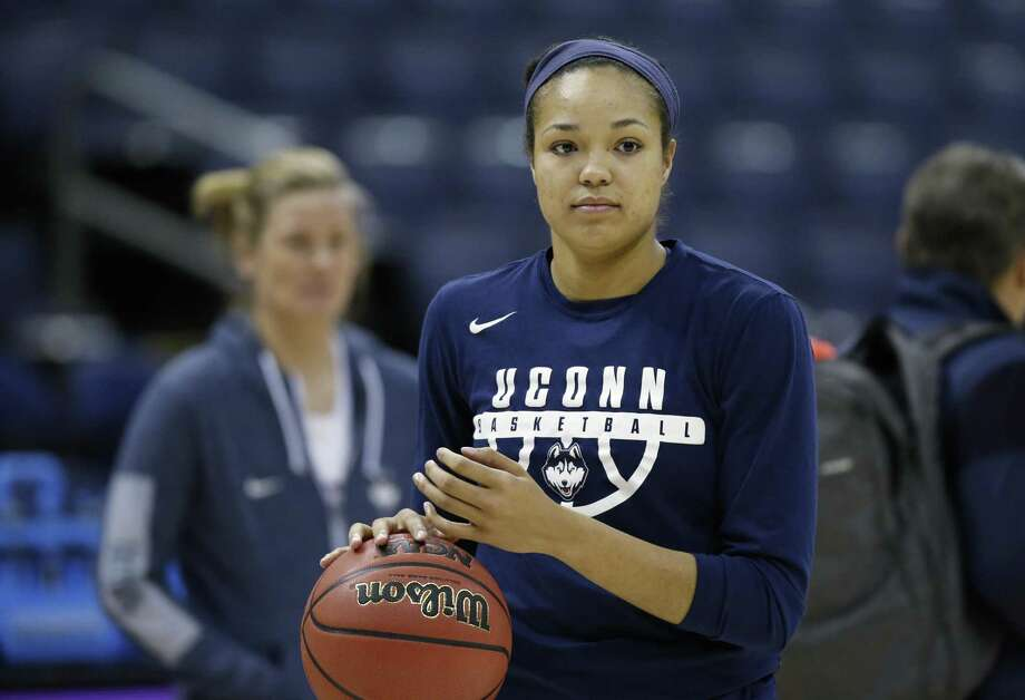 Connecticut's Napheesa Collier dribbles during a practice session for the women's NCAA Final Four college basketball tournament, Thursday, March 29, 2018, in Columbus, Ohio. UConn plays Notre Dame on Friday. (AP Photo/Ron Schwane) Photo: Ron Schwane / Associated Press / FR78273 AP