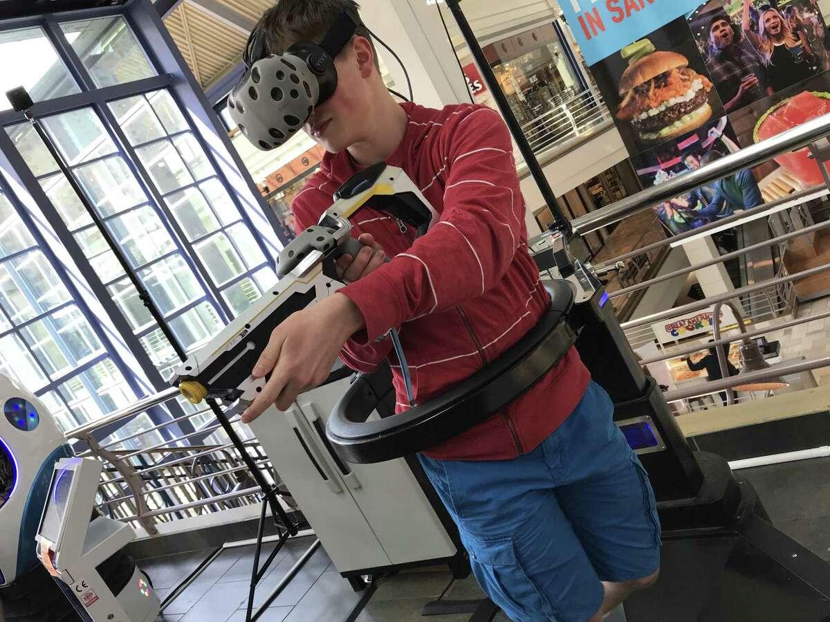Aiden Sanfelippo plays the virtual reality game