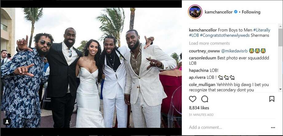 The Seahawks' original Legion of Boom, and Richardson's wife, Ashley (from left to right): Earl Thomas, Brandon Browner, Sherman and Kam Chancellor. Photo: INSTAGRAM