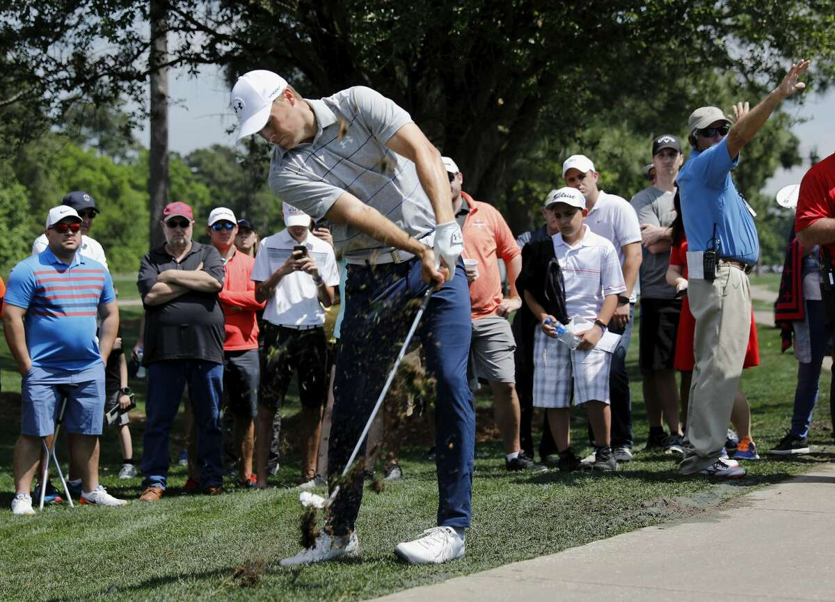 Jordan Spieth plays a ball off the fairway on the third hole during the first round of the Houston Open at the Golf Club of Houston on March 29, 2018.