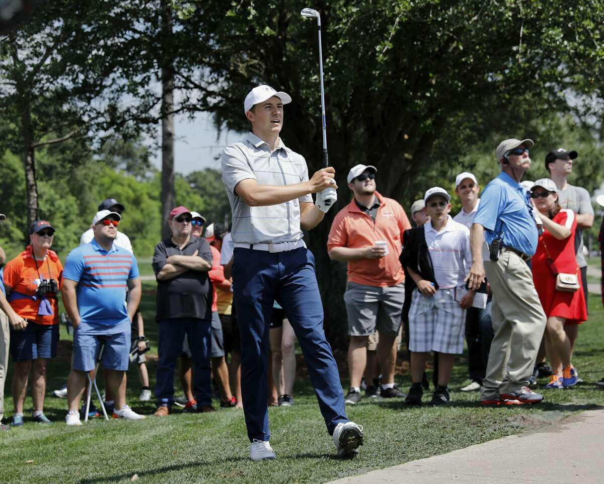 Jordan Spieth reacts to a shot on the third hole during the first round of the Houston Open at the Golf Club of Houston on March 29, 2018.