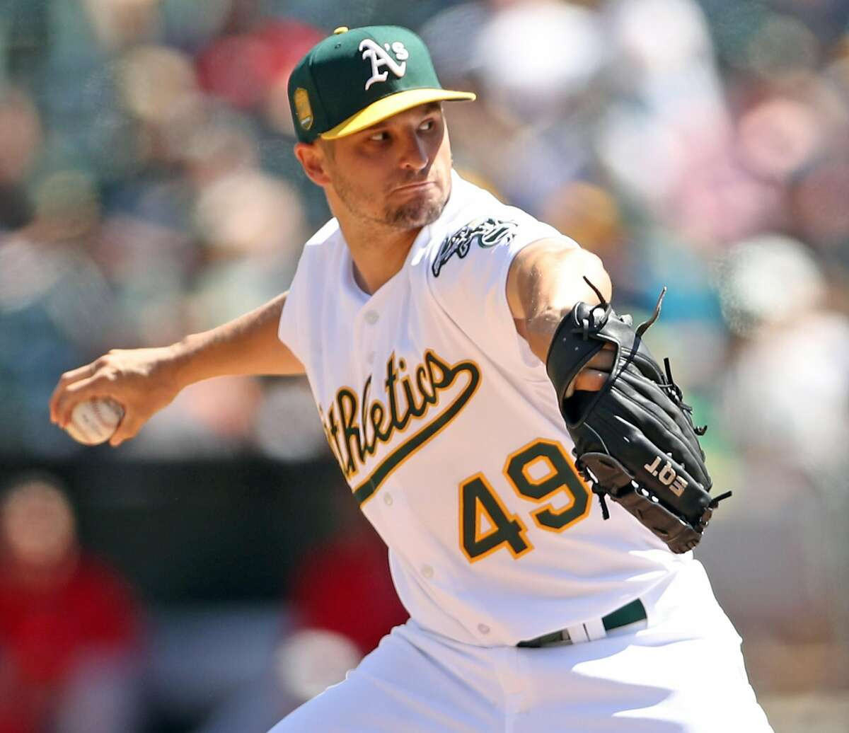 Oakland Athletics' Kendall Graven pitches in 2nd inning against Los Angeles Angels during MLB game at Oakland Coliseum in Oakland, Calif., on Thursday, March 29, 2018.