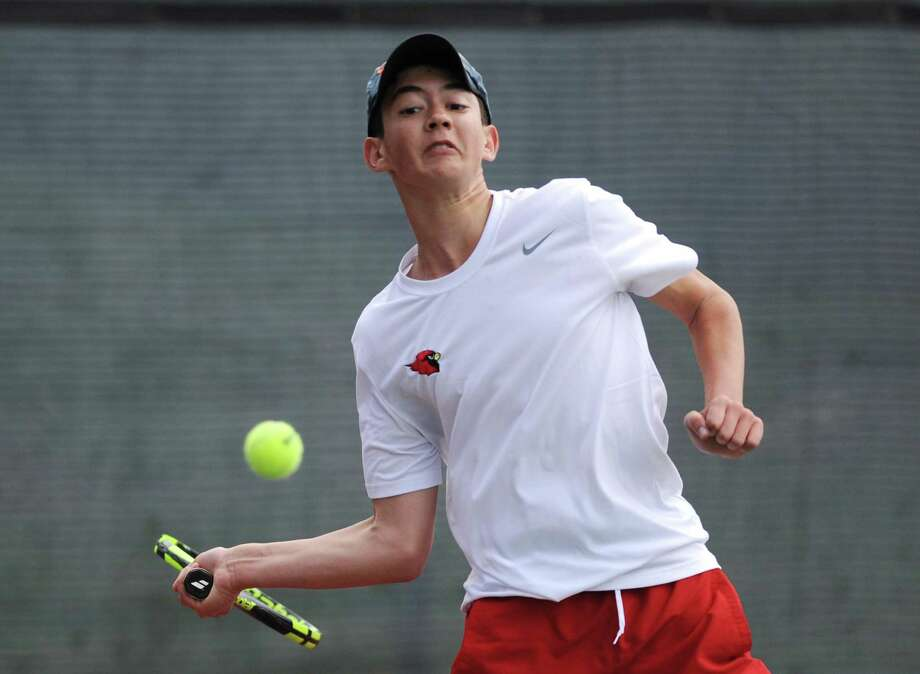 Greenwich sophomore Justin Speaker returns after an impressive freshman season. He is slated to play No. 1 singles for the Cardinals. Photo: Tyler Sizemore / Hearst Connecticut Media / Greenwich Time