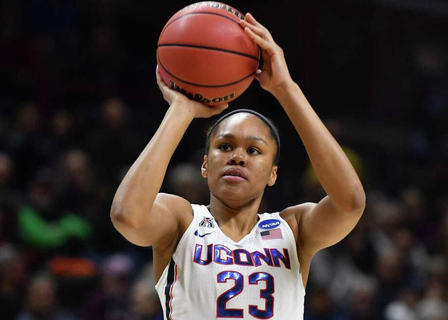 Azurá Stevens is UConn's first player off the bench. Photo: Icon Sportswire Via Getty Images / ©Icon Sportswire (A Division of XML Team Solutions) All Rights Reserved