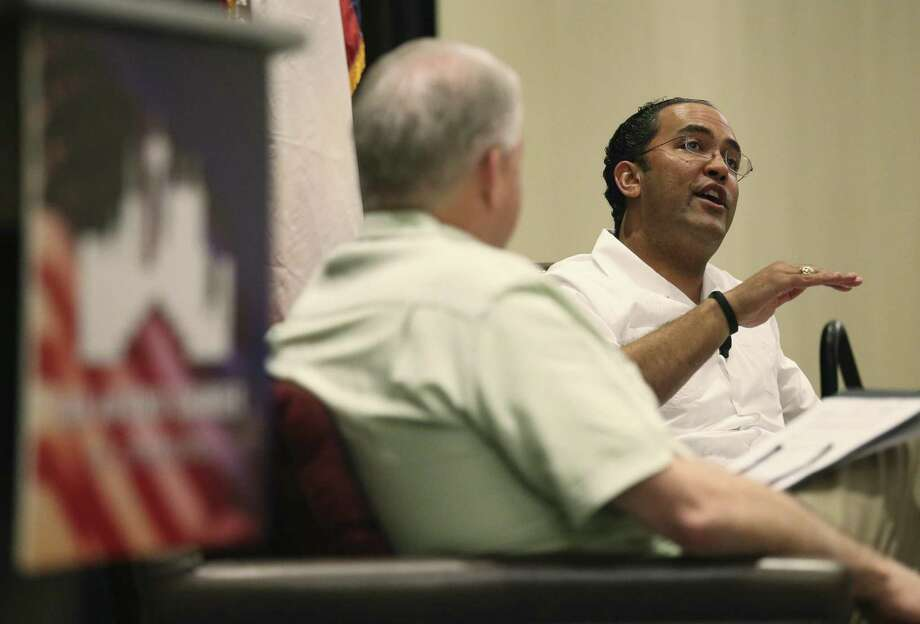 "Republican U.S. Rep. Will Hurd (right) has a conversation with San Antonio Chamber of Commerce chairman Shaun Kennedy (left) on Thursday, Mar. 29, 2018 at La Cantera Resort to address ""his efforts to garner bipartisan support for the most pressing issues facing Congress in 2018."" Topics include ""a modernized NAFTA, the latest on the emerging tech and cybersecurity sector, and the impacts of the new tax code."" Hurd is up for re-election in 2018 in the 23rd Congressional District, widely considered the most competitive district in Texas. The event is the kickoff of the San Antonio Chamber of Commerce's ""Congressional Series."" (Kin Man Hui/San Antonio Express-News) Photo: Kin Man Hui, Staff / San Antonio Express-News / ©2018 San Antonio Express-News"