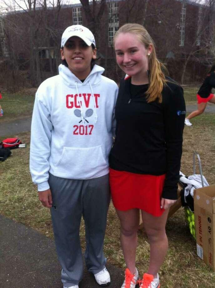 Tess Lamhaouar, left, and Melanie Murphy are senior captains on the Greenwich High School girls tennis team. Photo: David Fierro / Hearst Connecticut Media