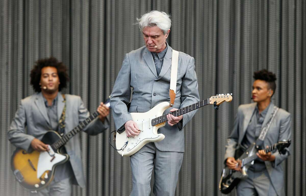 David Byrne performs during Lollapaloosa Sao Paulo 2018 at the Interlagos racetrack on March 24, 2018 in Sao Paulo, Brazil. (