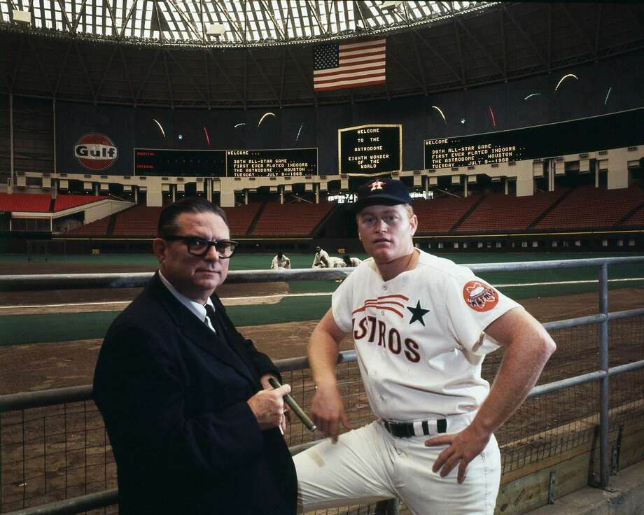 Astros owner Roy Hofheinz and Rusty Staub at the Astrodome the day before the first indoor All-Star baseball game in 1068. Photo: Owen Johnson, HP Staff / Houston Chronicle / Houston Chronicle