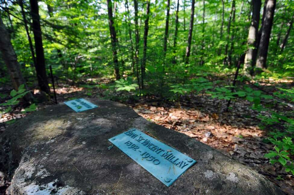 Edna St. Vincent Millay's final resting place along the Millay Poetry Trail near her former house at the Edna St. Vincent Millay Society at Steepletop, in Austerlitz on Thursday May 27, 2010. ( Philip Kamrass / Times Union)
