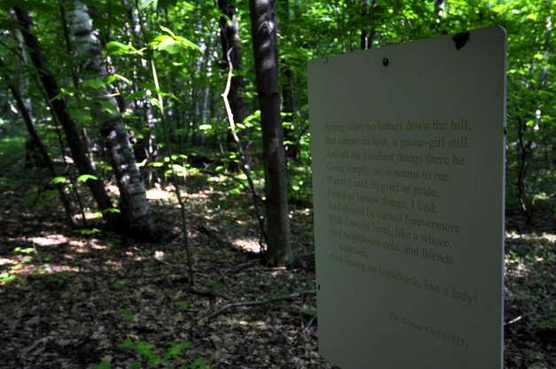 A poem by Edna St. Vincent Millay is along the Millay Poetry Trail. ( Philip Kamrass / Times Union) Photo: PHILIP KAMRASS