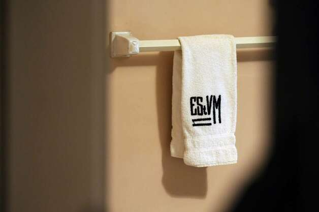 A monogrammed towel in Edna St. Vincent Millay's bathroom at her house at the Edna St. Vincent Millay Society at Steepletop. ( Philip Kamrass / Times Union) Photo: PHILIP KAMRASS