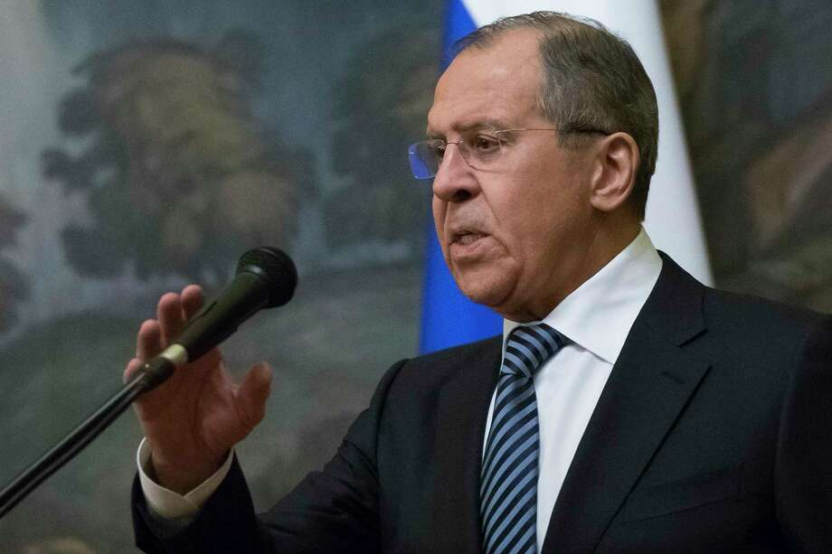 FILE – Russian Foreign Minister Sergey Lavrov speaks to the media in Moscow in this file photo from March 29, 2018. Lavrov made an appeal for the U.S.  to release Maria Butina, who was charged with acting as an unregistered agent of Russia. Photo: Alexander Zemlianichenko / AP
