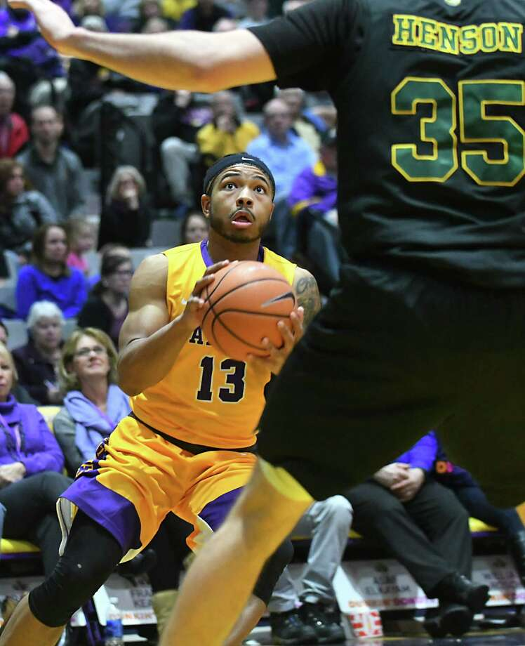 University at Albany's David Nichols looks to the basket during a basketball game against Vermont at SEFCU Arena on Thursday, Feb. 8, 2018 in Albany, N.Y. (Lori Van Buren/Times Union) Photo: Lori Van Buren / 0042387A