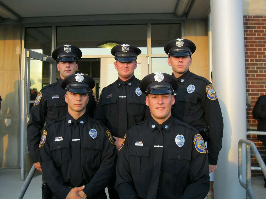 Five new Westport police officers recently completed training at the Connecticut Police Academy in Meriden. They include, back row from left, John Lachioma, Paul Wargo and Scott Morrison; front row from left, Michael Ruttenber and James Loomer. Photo: Contributed Photo / Westport News