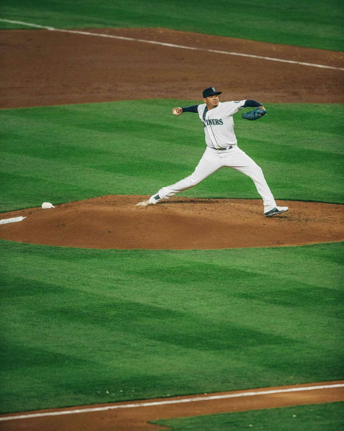 Mariners starting pitcher Felix Hernandez throws a pitch.