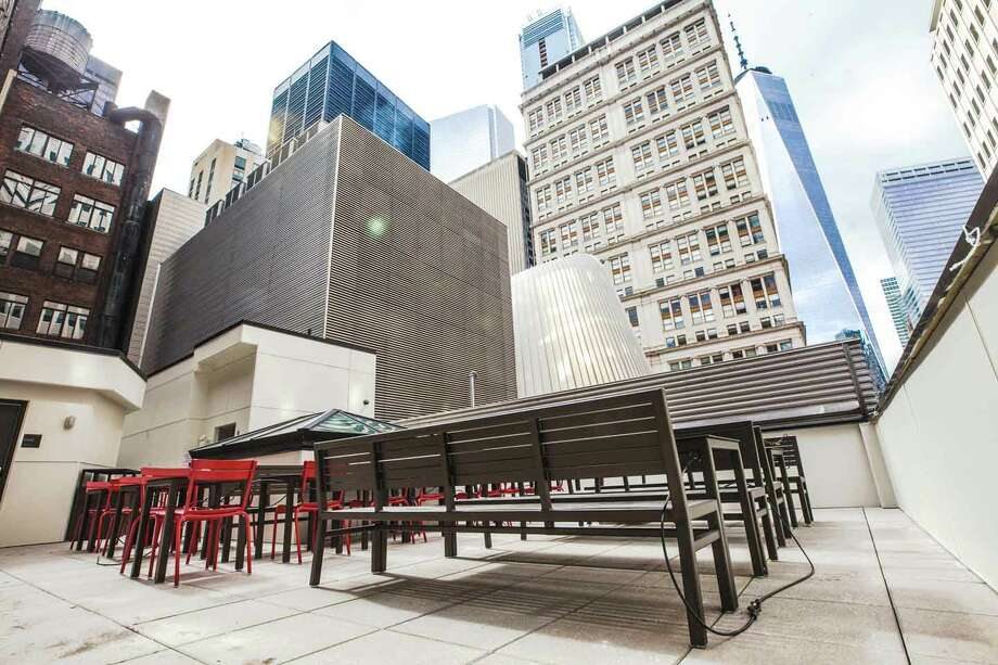 Chick-fil-A's 12,000 square-foot, five story restaurant opened on March 29, 2018. The 144 Fulton Street location seats up to 140 guests and has an open-air rooftop where people can eat outside. Photo: Chick-fil-A