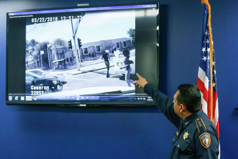 Harris County Sheriff Ed Gonzalez watches dash cam video of the fatal deputy-involved shooting of Danny Ray Thomas during a press conference regarding the shooting Monday, March 26, 2018 in Houston. Photo: Michael Ciaglo, Houston Chronicle / Michael Ciaglo