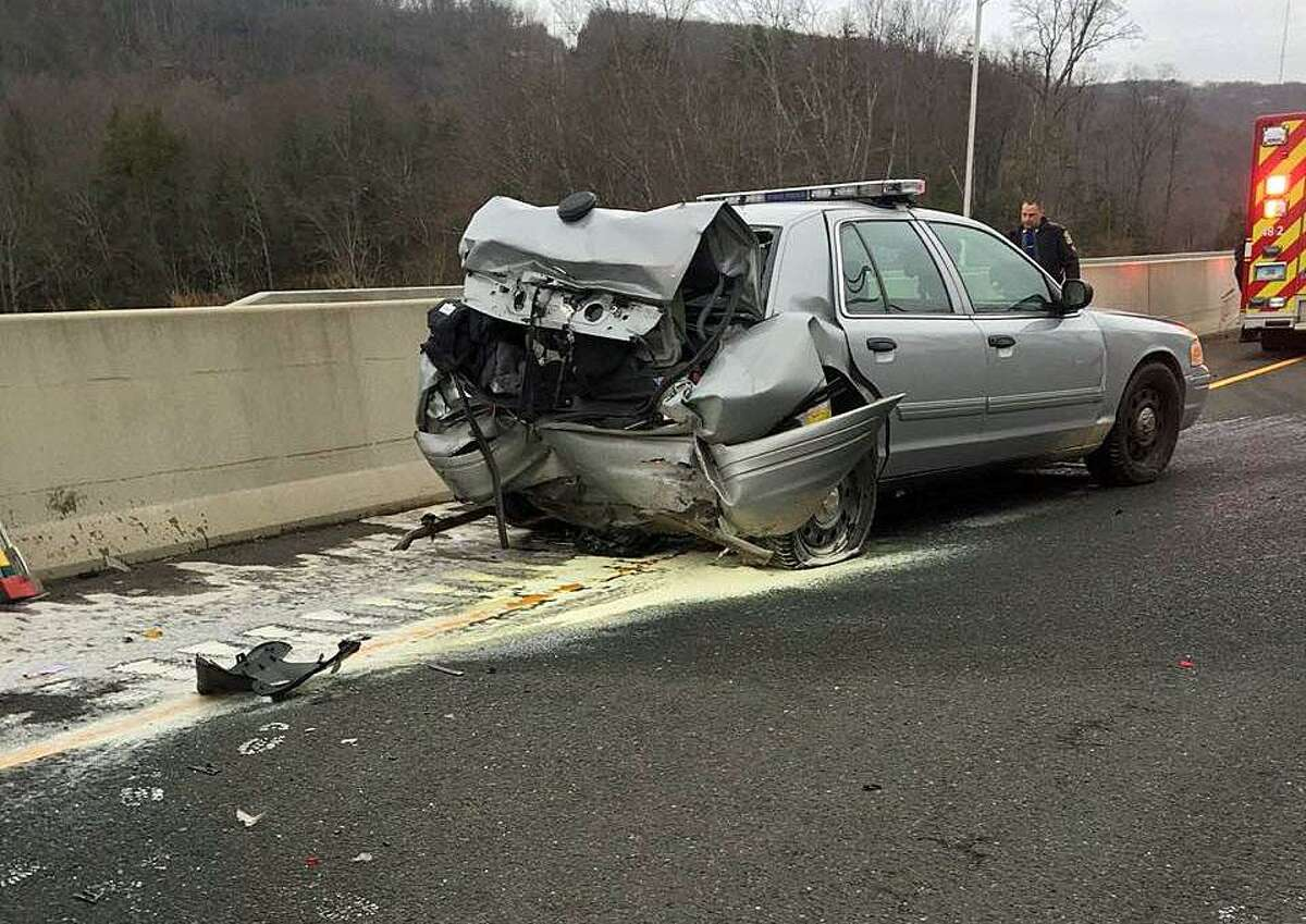 A total of 7,472 distracted driving crashes occurred around Connecticut in 2015. This accounts for about 7 percent of all crashes for that year. Distracted driving crashes represent 4 percent of all fatal crashes and 9 percent of all injury crashes.Pictured: A Danbury driver who rear-ended a State Police cruiser on I-84 was charged with distracted driving, following too closely, first-degree reckless endangerment, reckless driving and third-degree assault, state police said.