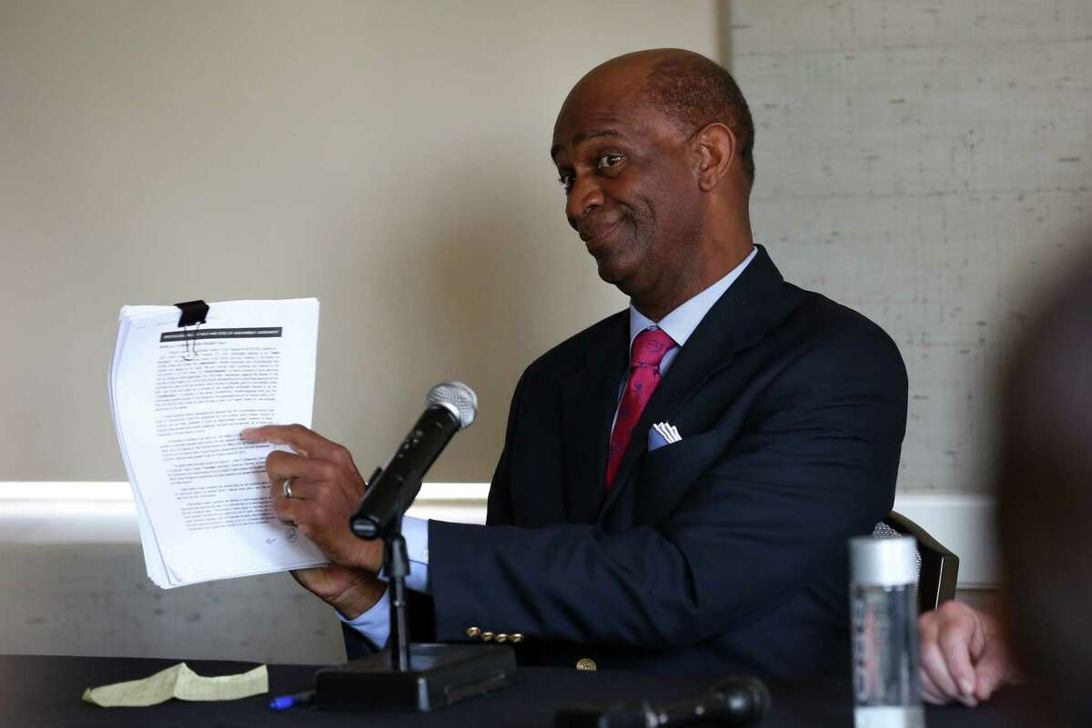 Pastor Kirbyjon H. Caldwell conducts a press conference to address the 13 counts conspiracy, wire fraud, and money laundering he is being accused of at the Magnolia Hotel Friday, March 30, 2018, in Houston.