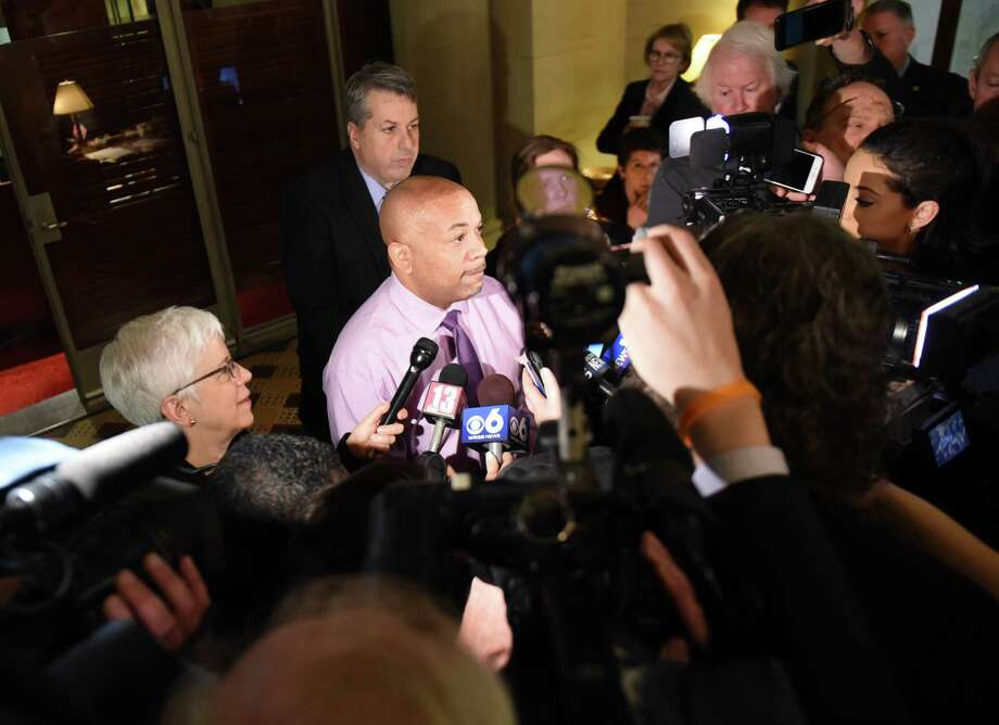 Speaker Carl Heastie holds a budget press briefing on Friday, March 30, 2018, at the Capitol in Albany, N.Y.  (Will Waldron/Times Union) Photo: Will Waldron, Albany Times Union