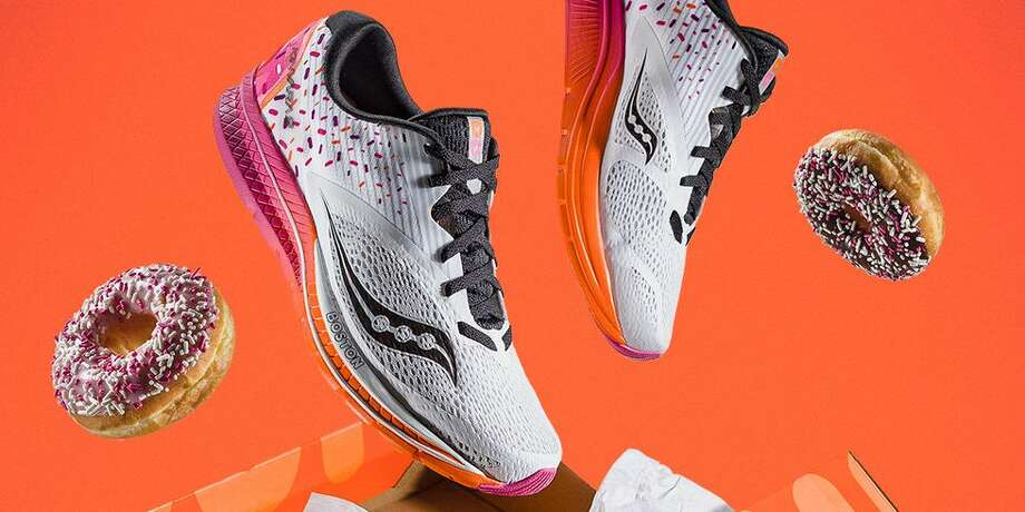 The Dunkin' Donuts sneaker from Saucony and Dunkin' Donuts was created for the 2018 Boston Marathon. Photo: Saucony