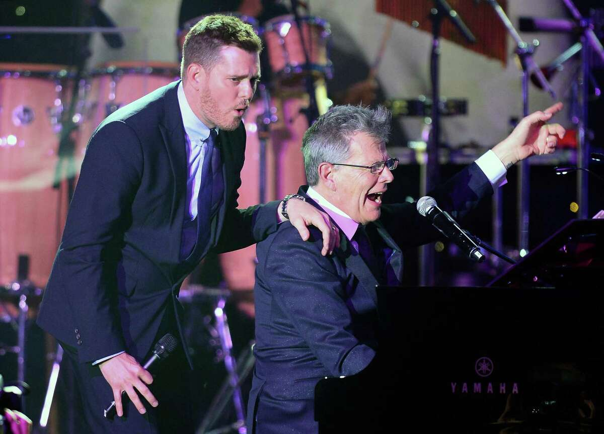 David Foster, right, with Michael Buble. Foster is producing Buble's next album.